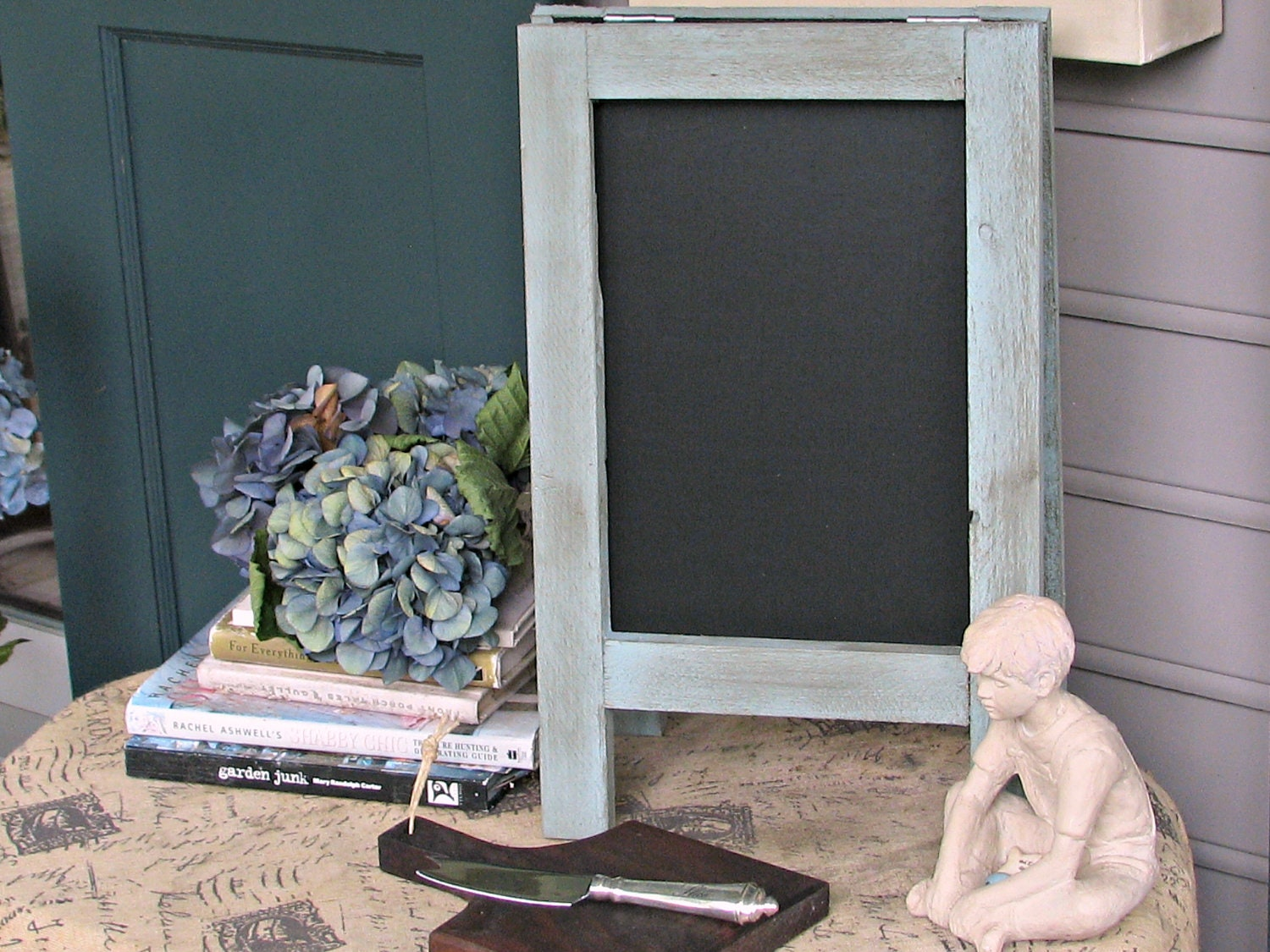Vintage MINI Tabletop French Cafe Sidewalk Chalkboard, Duck Egg Blue