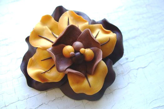 Yellow And Brown Flower Brooch Polymer Clay - bloomyjewelry