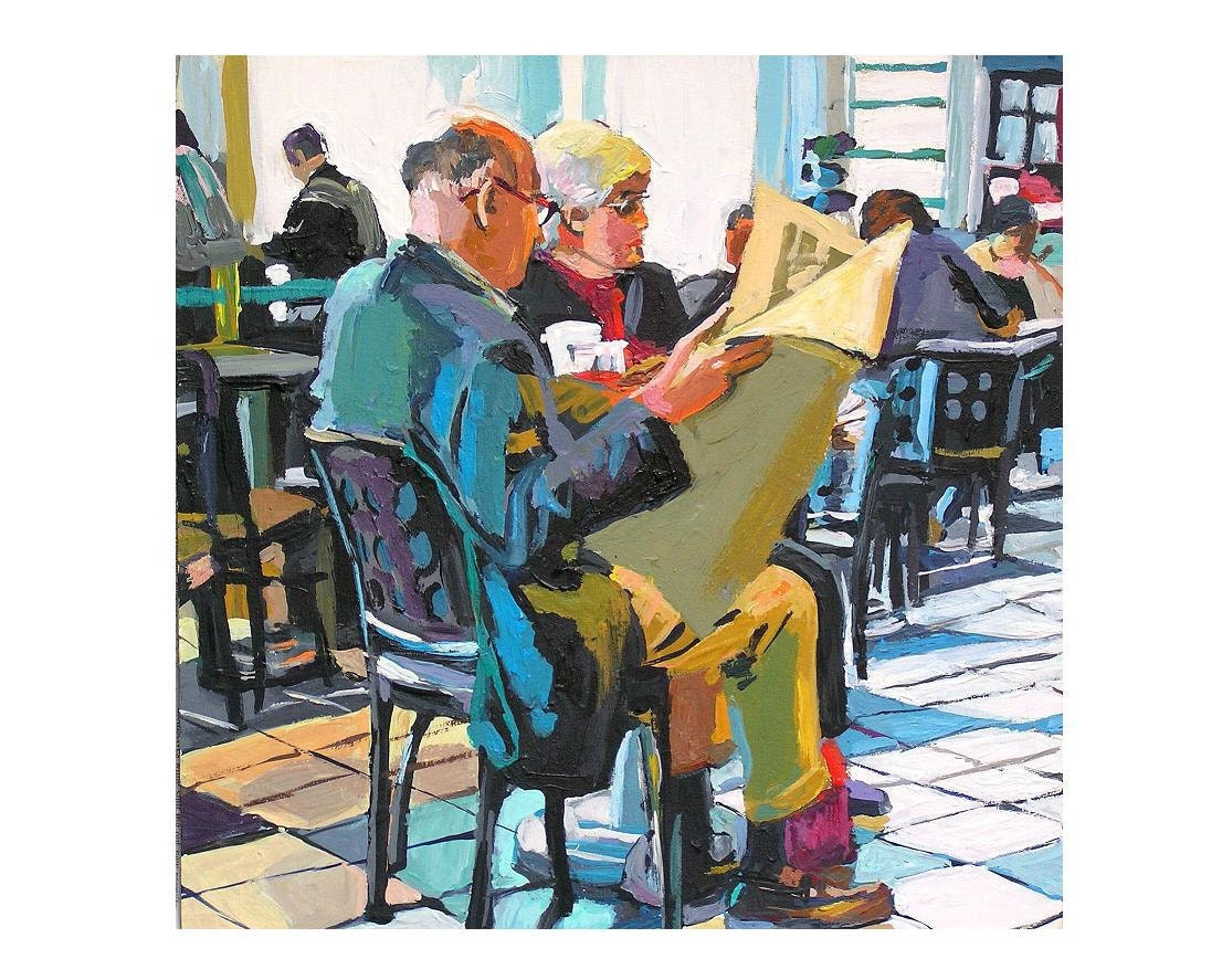 Fine Art Print 8x8, Man Reading A Newspaper, blue yellow mustard  Painting by Gwen Meyerson