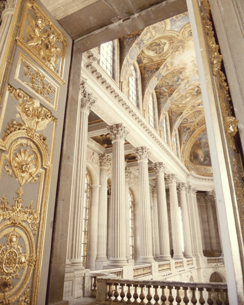 Gold Photo - Versailles 8x10 Photo - Church, Paris - Marie Antoinette, Pillars - Saffron - Metallic, Gold - French, Neutral, Luxury - chezjolly