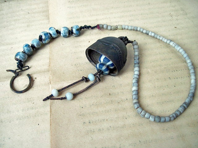Lunaticus. Antique Tribal Bell Assemblage Choker.