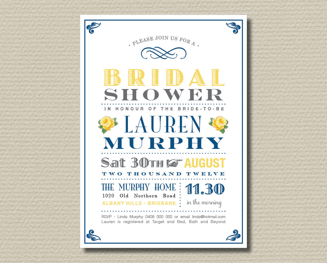 Printable Bridal Shower Invitation - Navy and yellow vintage poster design with sweet roses