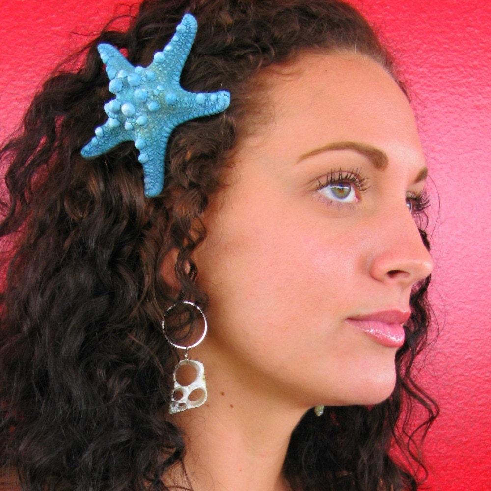 Реальная Starfish волос Клип Aqua Blue Бирюзовый Большой