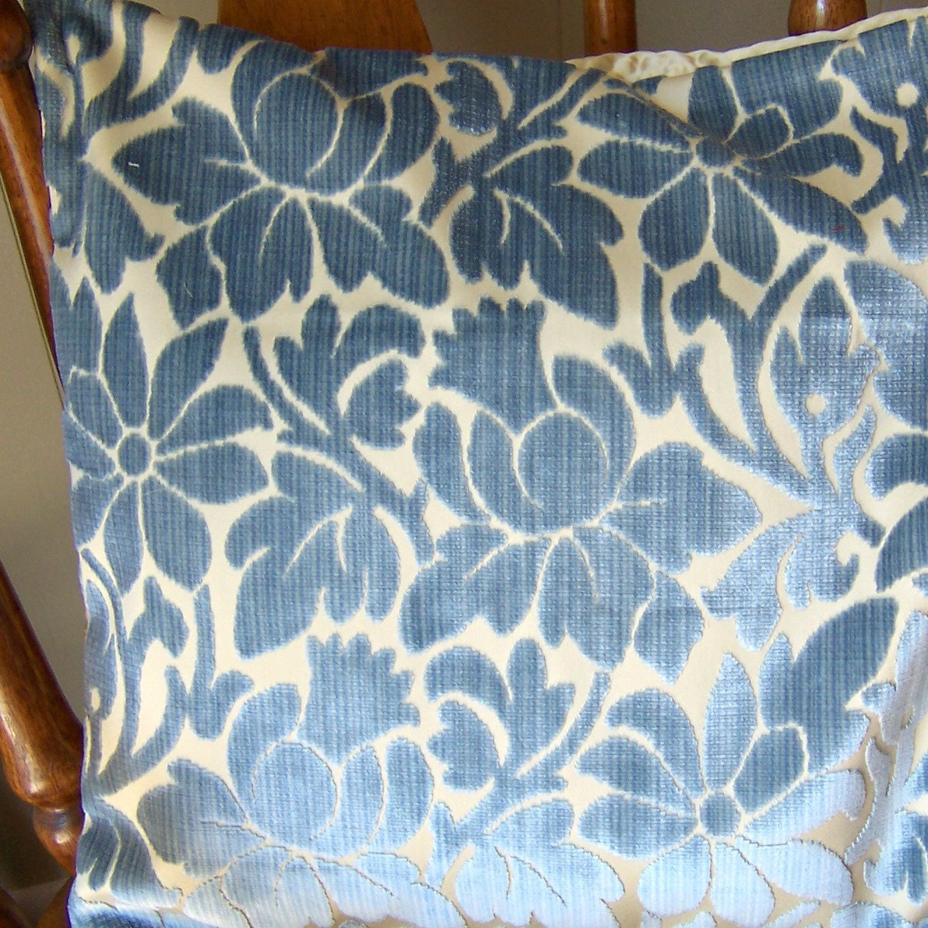 Blue Floral Cut Velvet Pillow Sham