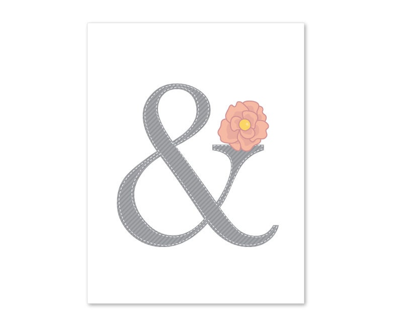 Ampersand Symbol Wall Art Print- Flower -Love - Typographic - Modern Home Decor - Grey and Peach Pastel - Wedding - AldariArt