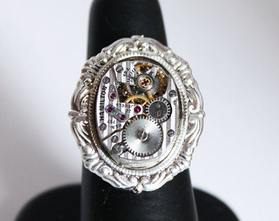 Watch Movement Adjustable Men Victorian Steampunk Ring Wedding Gift