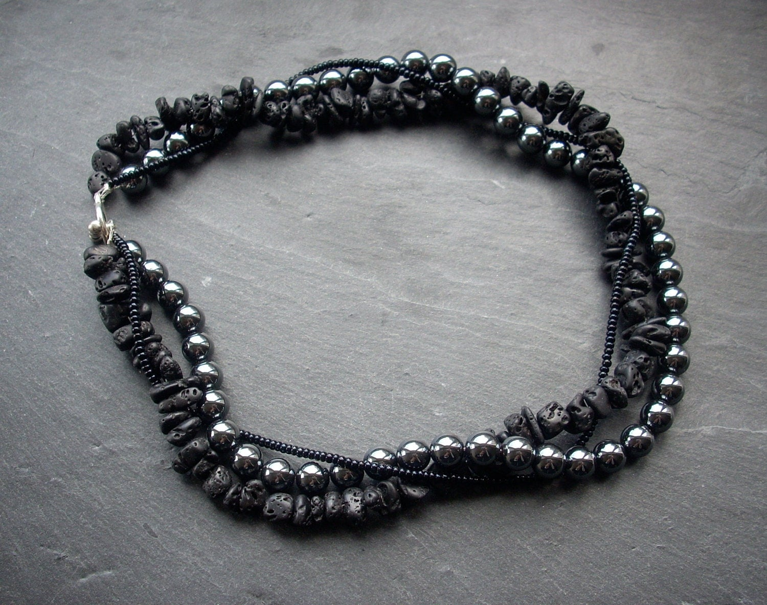 Black beaded necklace hematite lava stone choker