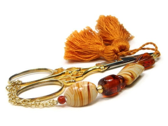 Scissor Fob Beaded Butterscotch Swirl 4 Sewing Needlepoint Cross Stitch Quilting