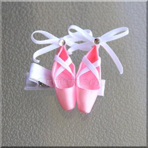 pink satin ballet slippers ballet shoe hair clip by girlykurlz