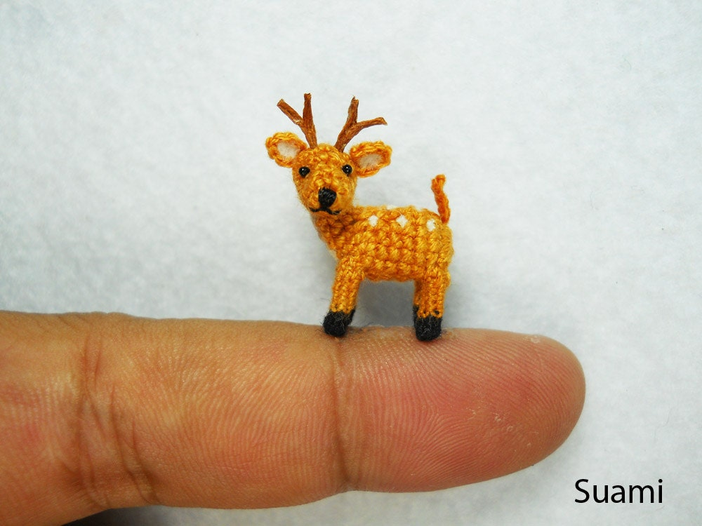 Miniature Fawn Deer - Teeny Tiny Crocheted Fawn Buck Deer - Made To Order - SuAmi
