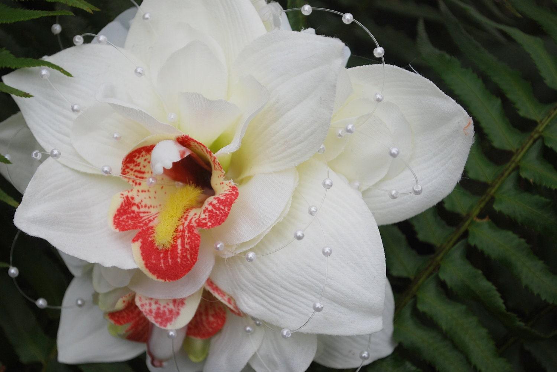 Bridal Hair Flower- Bridal Hair Clip- Bridal Hair Accessory-  Double Cymbidium Orchid - Cream - Blush - Pearls - blueeyesbridal
