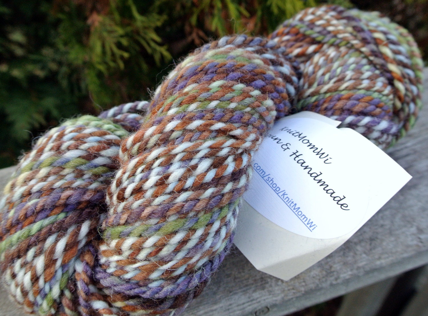 SALE Black Friday/Cyber Monday- Handspun Bulky Shetland Yarn: Pine and Mud Foes - KnitMomWi