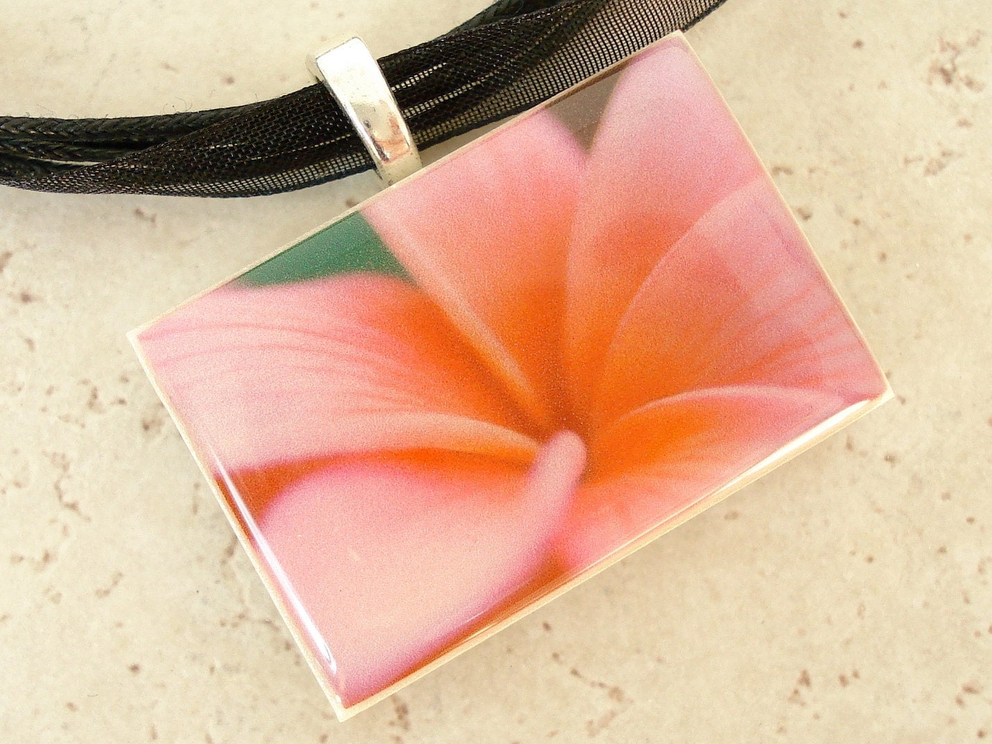 Plumeria photo picture pendant made with polymer clay on organza ribbon necklace