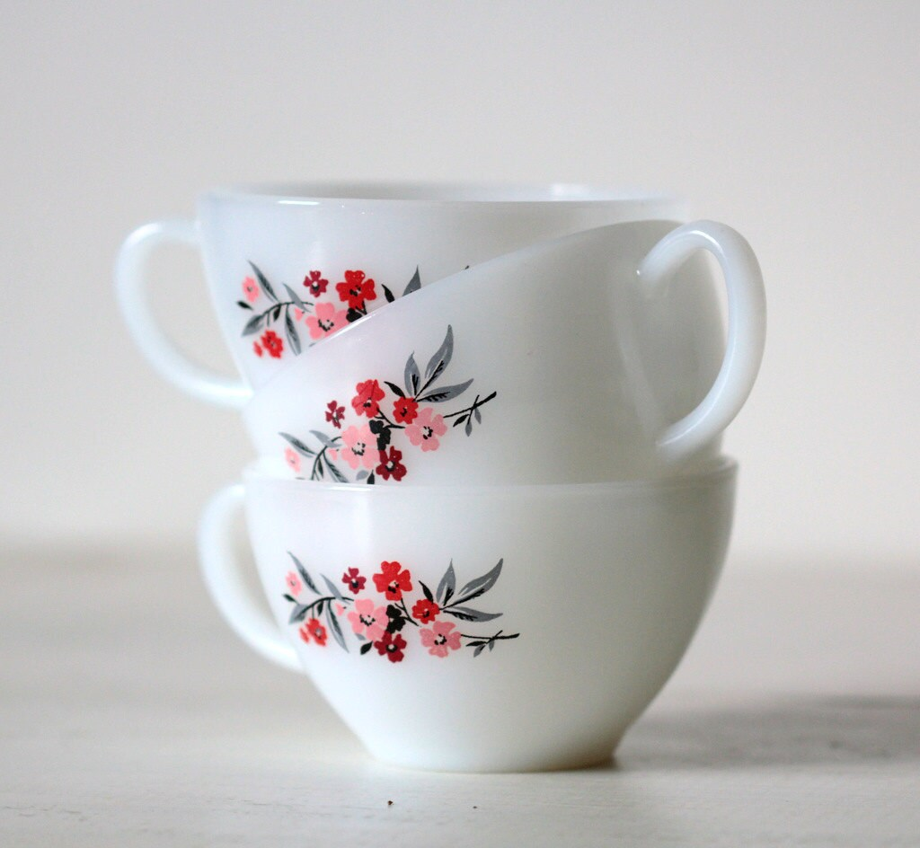 Fire King Cups - Primrose Pattern - BellaCasella