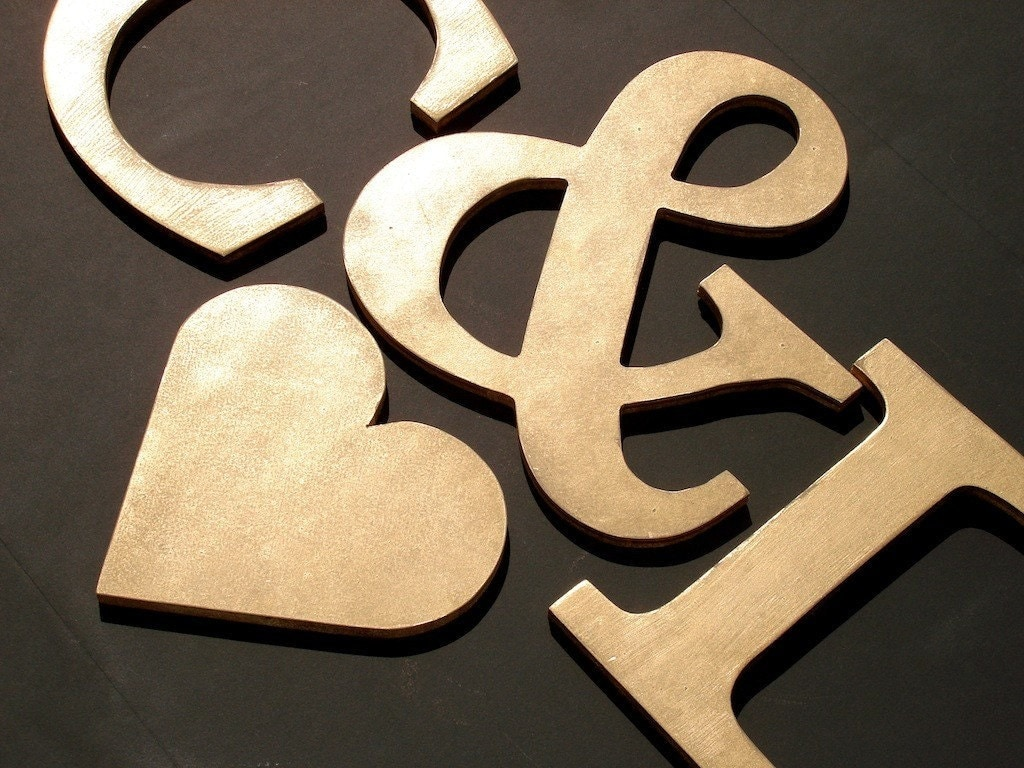 GOLDEN LETTERS Custom Wood Initials Wall by compulsivecollection