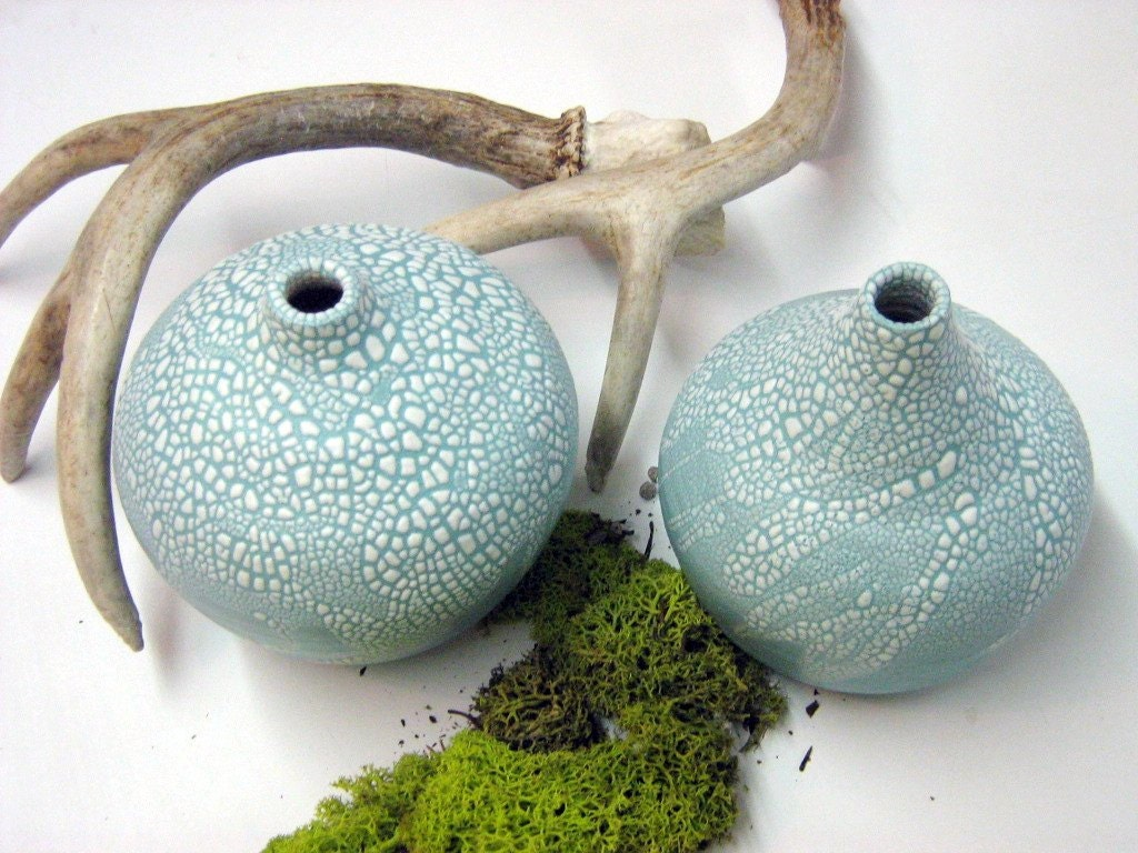 Conical-Shaped Ceramic Mint Green Vases With White Crawling Glaze , Home Decor - Marengerpottery