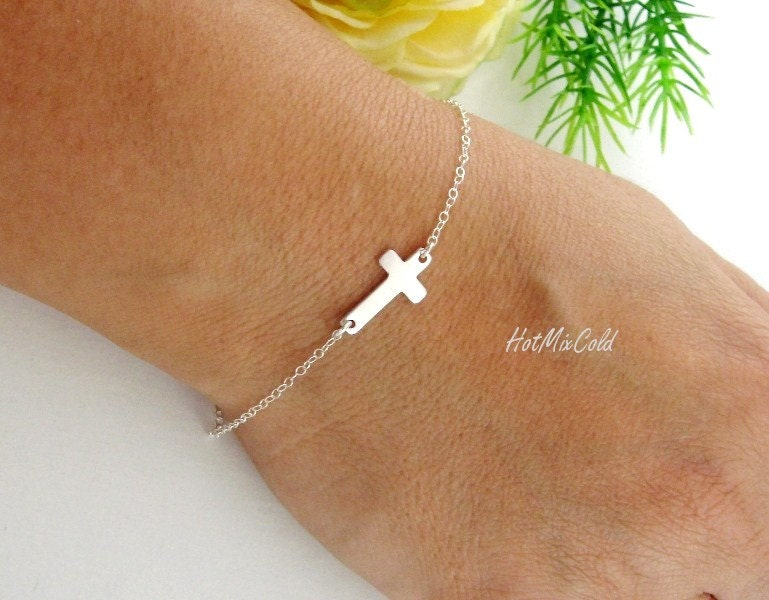 Silver Sideways cross Bracelet, SMALL Sterling silver cross charm Bracelet, Religious jewelry, Celebrity Inspired