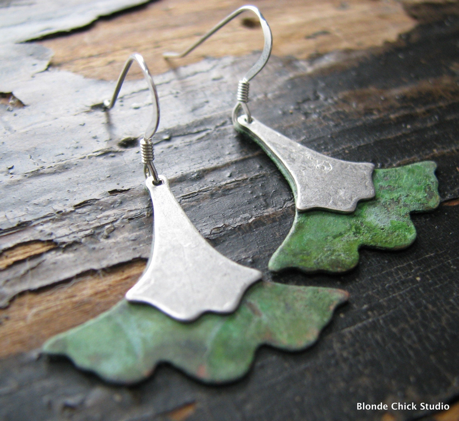 SOPHIE-Patina and Silver Ginkgo Leaf Earrings - BlondeChick
