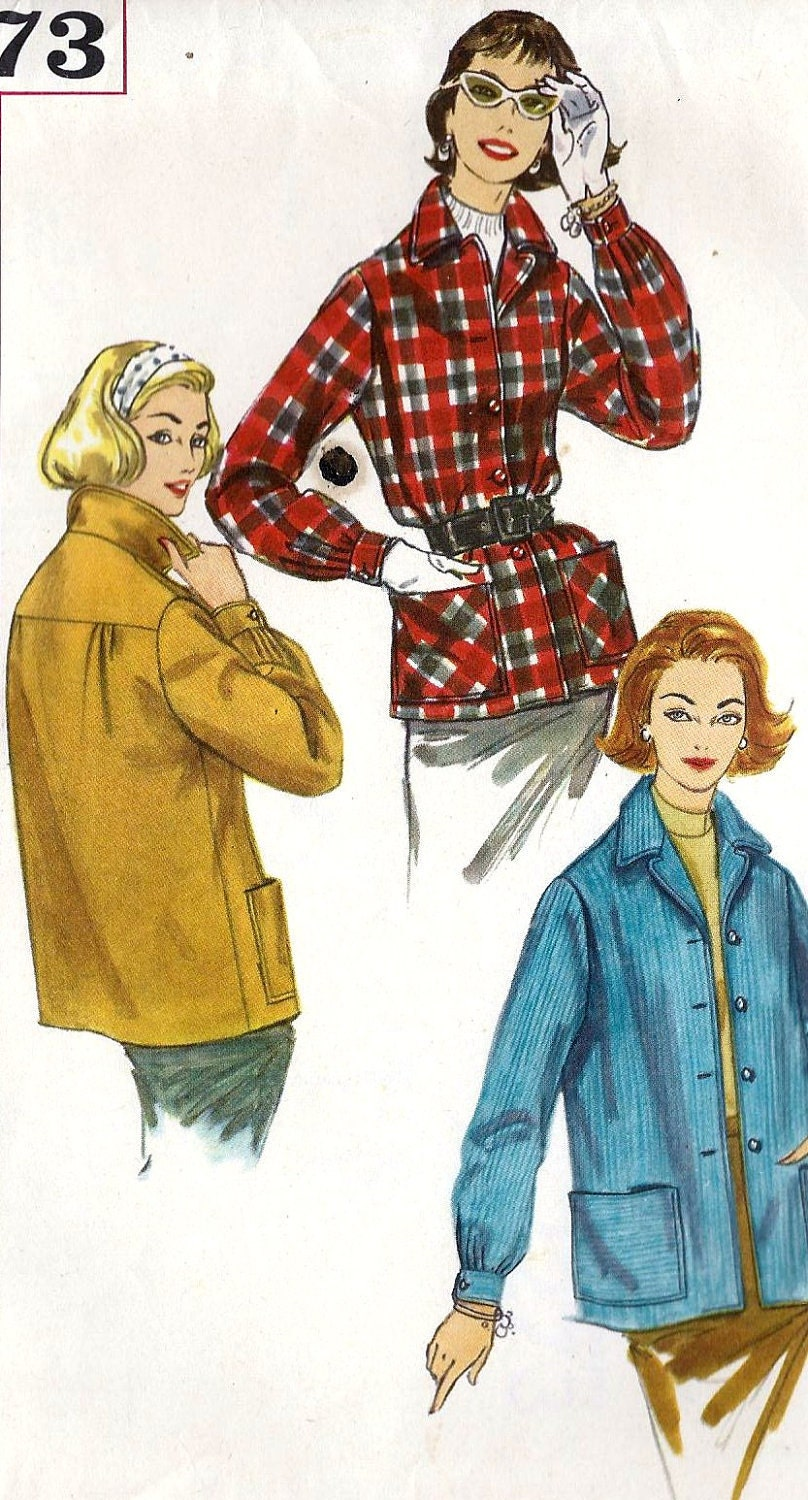 1950s Misses Jacket The suburbanite Vintage Sewing Pattern, Simplicity 2273 bust 38""