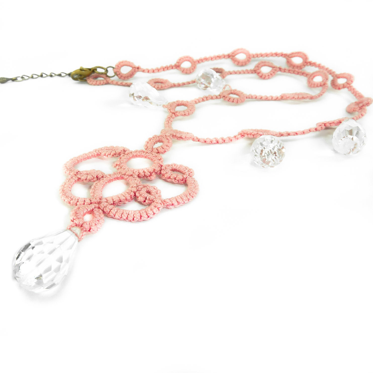 Braidsmaide pink lace necklace - Decoromana
