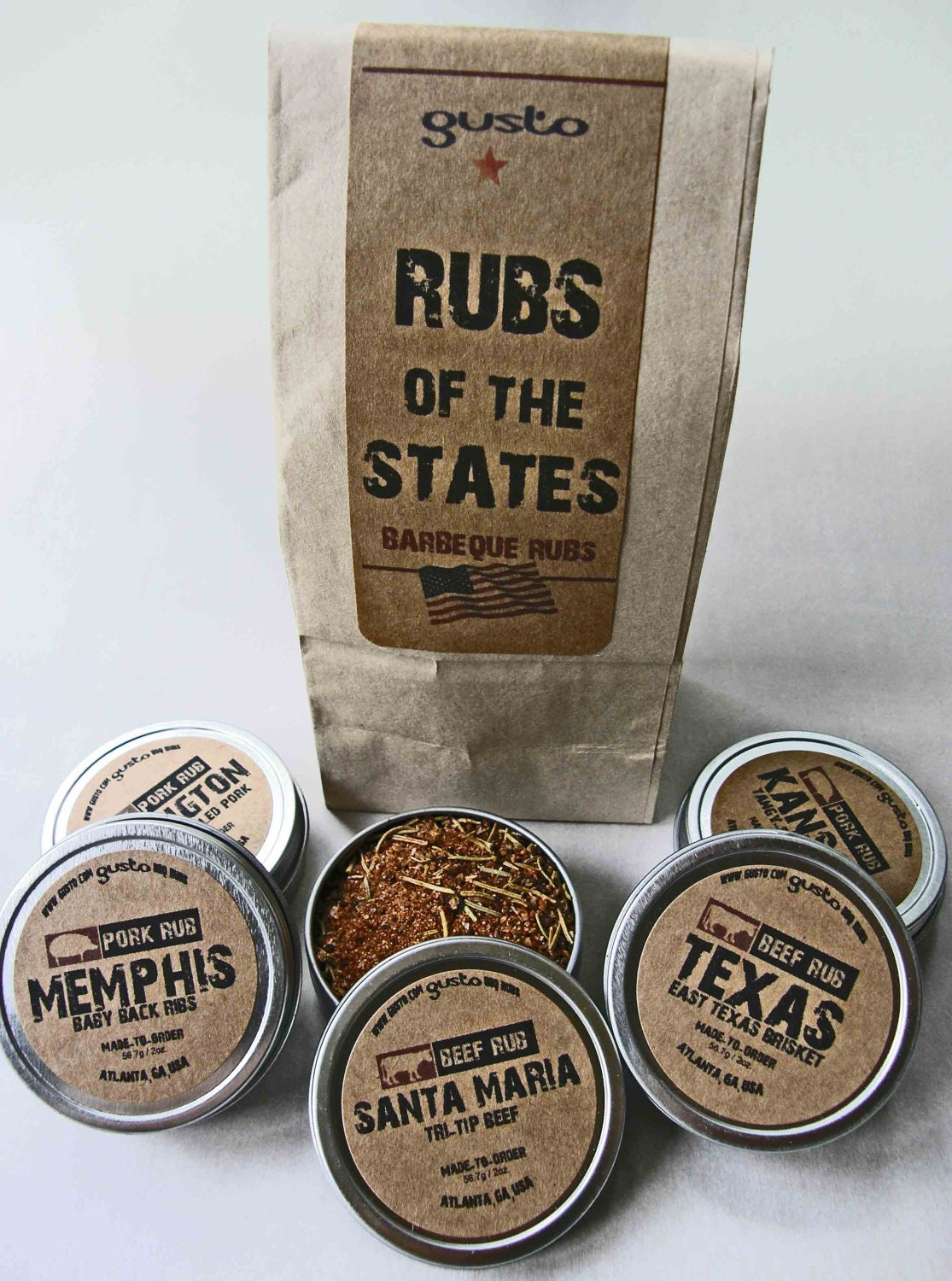 Gusto - Rubs of the States - Barbeque Rub Gift Set - BBQ Grilling
