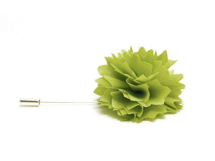 Flower lapel pin Pale green Carnation tie pin - etherealflowers