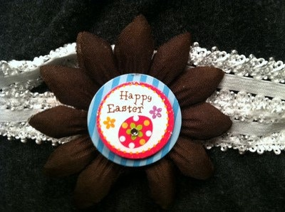 Brown Handmade Flower With Handmade Paper Happy Easter Rhinestone Middle On Elastic Headband - $7.00 USD