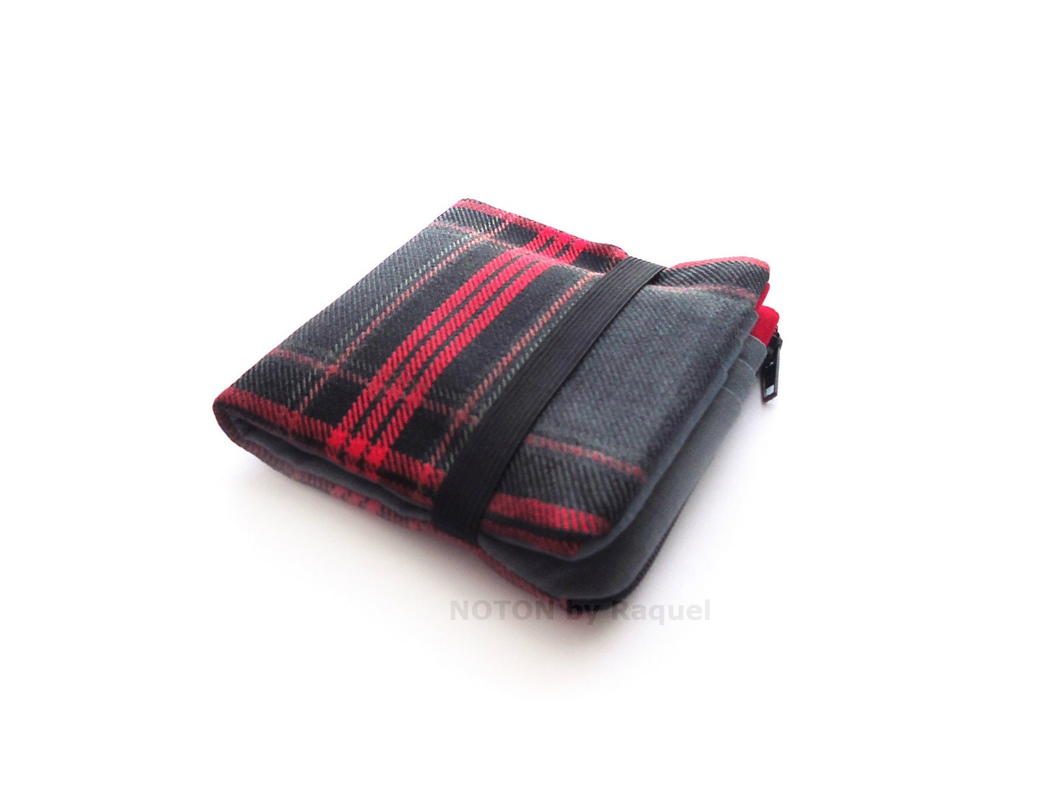 Men Billfold Wallet in Grey and Red Plaid Fabric - NOTONbyRaquel