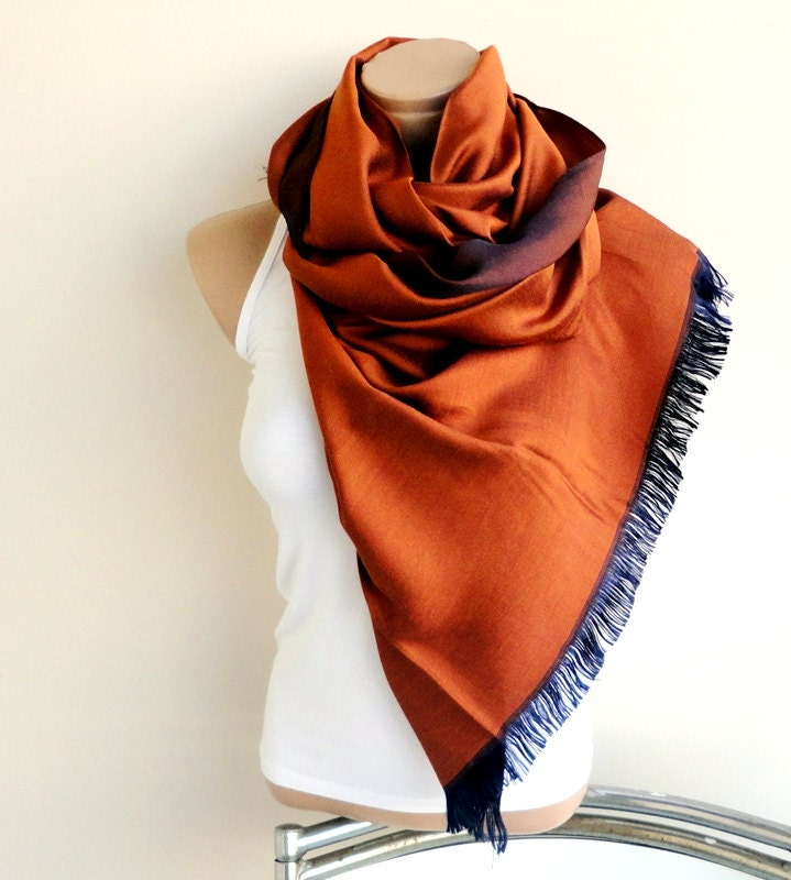 Terracota & Brown Scarf  Natural Linen Cotton Wrap,Shawl,Neckwarmer,Light Scarf,Wrap , Fall Fashion Accessory - ScarfLovers