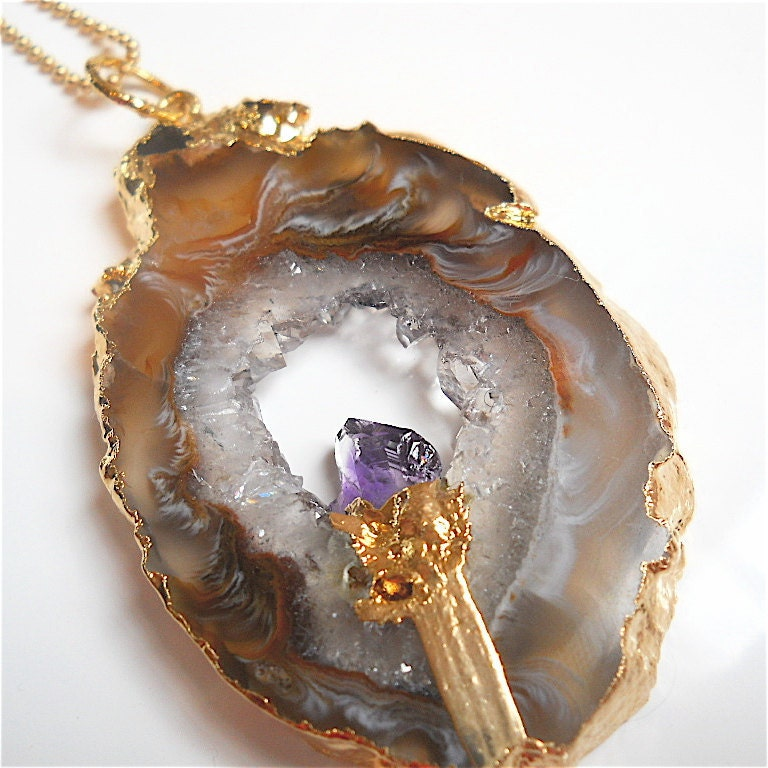 Sparkling Druzy Drusy Geode  Gemstone Slab Pendant by pjclarke
