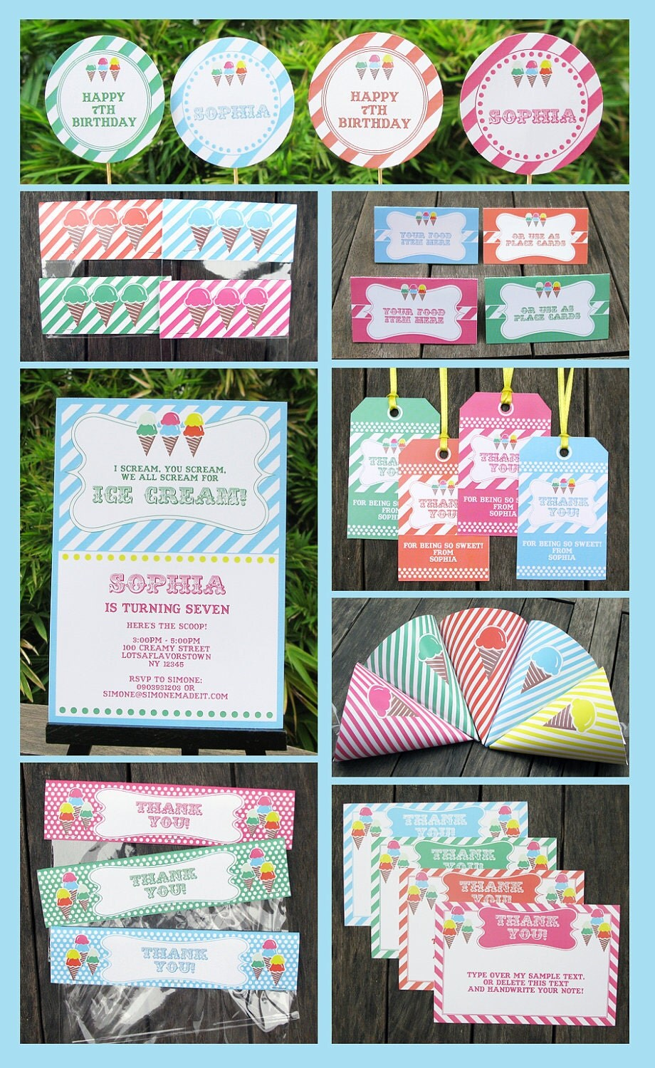 Ice Cream Party Invitation & Printable Birthday Collection, EDITABLE text PDF file - you personalize at home with Adobe Reader