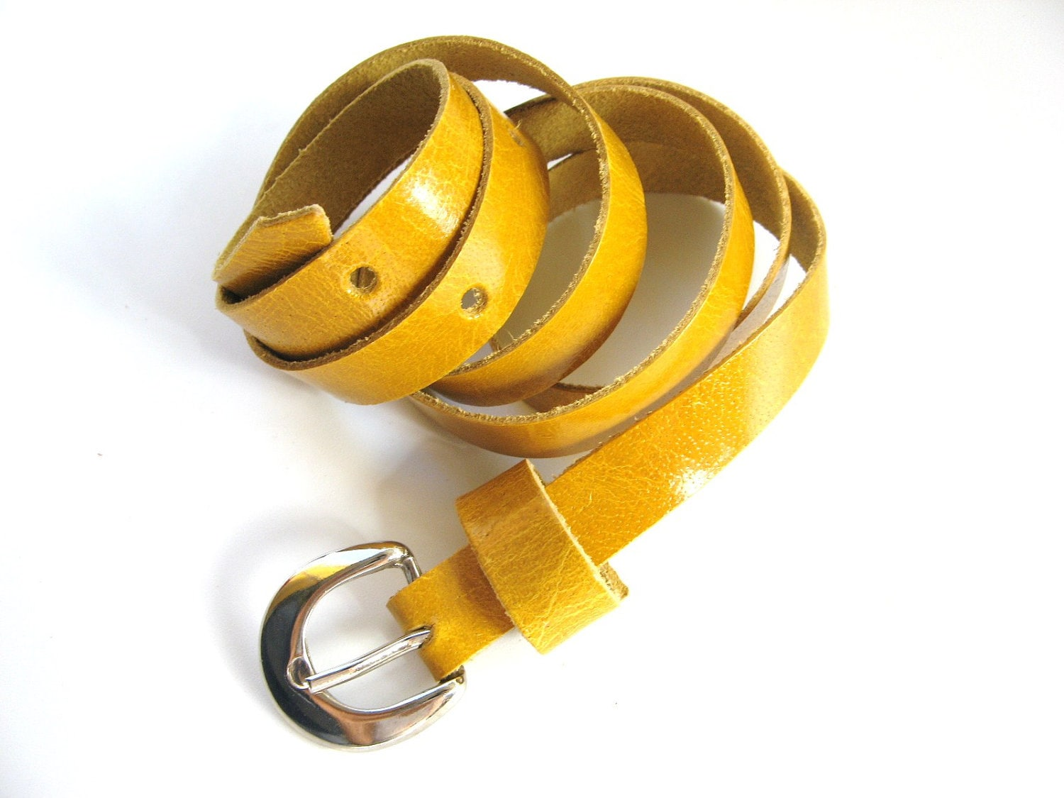 SUPER SKINNY LEATHER Belt - in Big Yellow Taxi -  Free Shipping