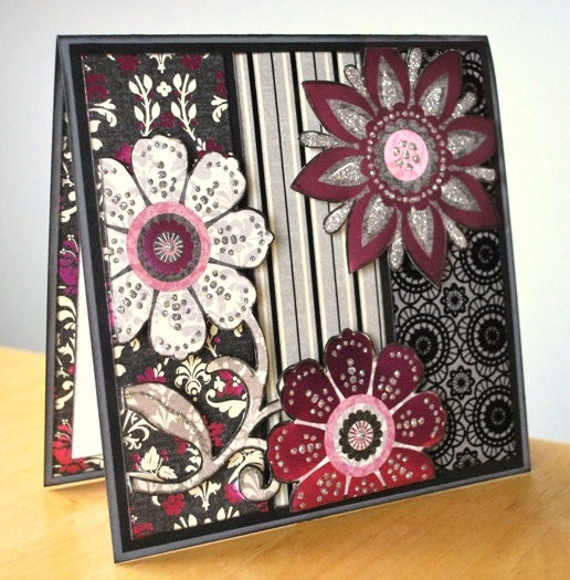 PInk, Black, Grey and White Card - PaperButterflyCO