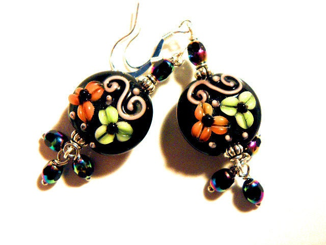 Lampwork Earrings  handmade  lampwork Autumn Colors LE122 - CookalasHouseOfCards