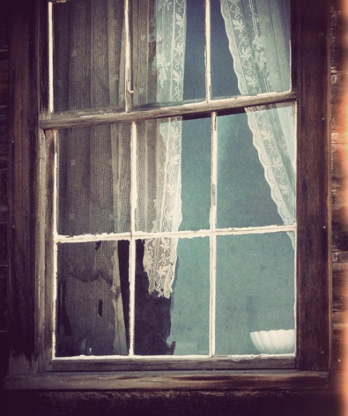 "Shabby Window Photo ""Curtain Lace Billow"" Tattered Curtain Woodland Cabin Photograph - missquitecontrary"