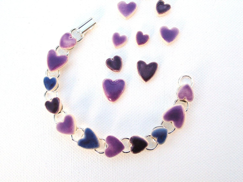 Purple bracelet ceramic hearts mauve violet Rhapsody - damsontreepottery