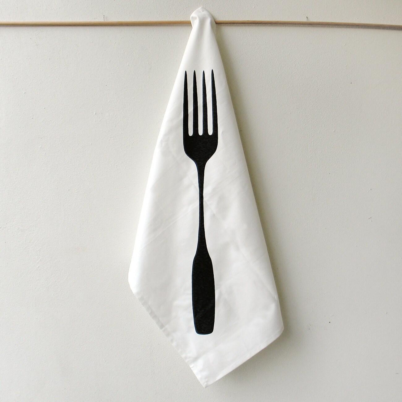 SALE Eco Friendly Kitchen Gift : Giant Fork Tea Towel - Xenotees