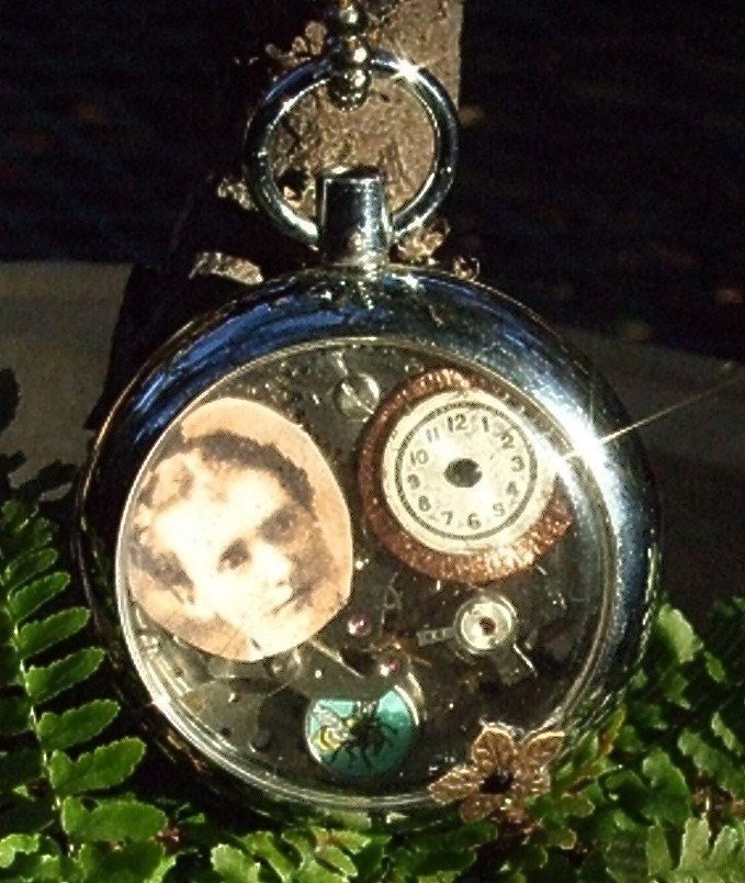 Steampunk Vintage Pocket Watch  Scary Girl - steampunksisters