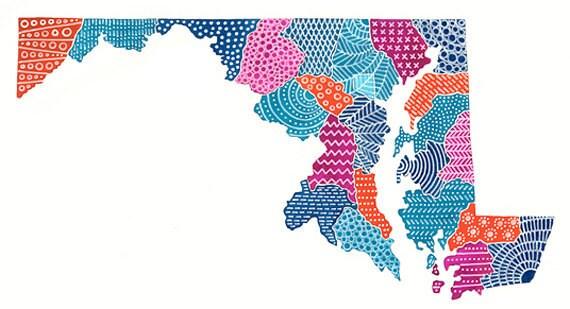 Maryland Map Illustration (PRE-ORDER)