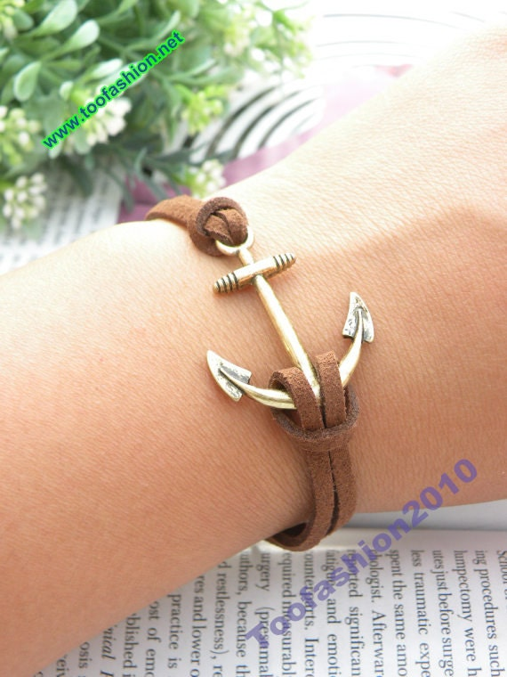 SALE Pretty retro copper 3d anchor with brown leather hand chain bracelet pendant jewelry punk style