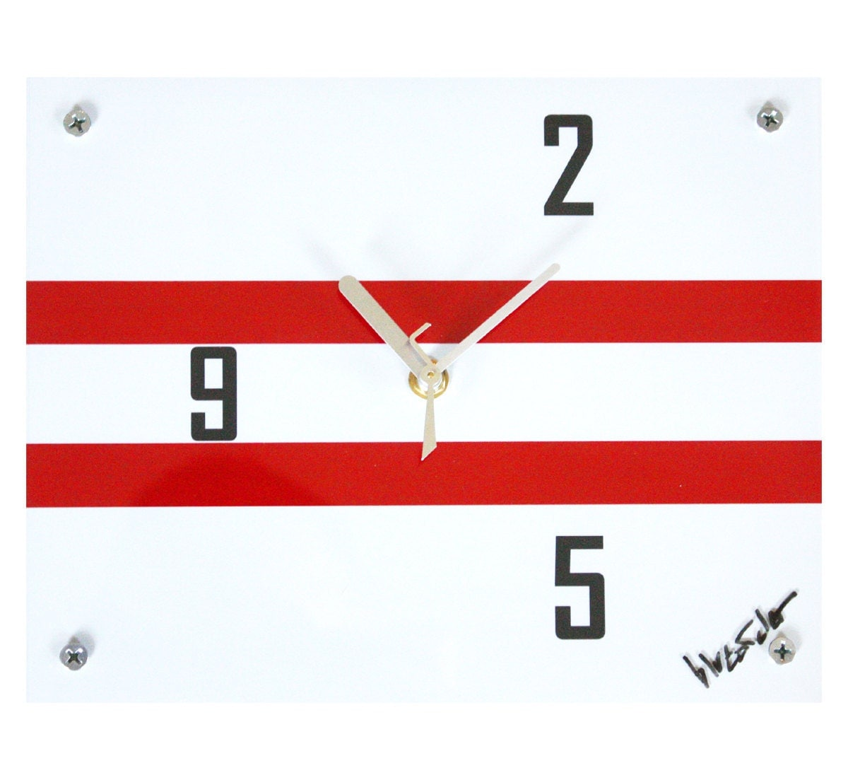 Modern Wall Clock : Technique Series Number Four  Avant Garde Red White and Black - blueorder