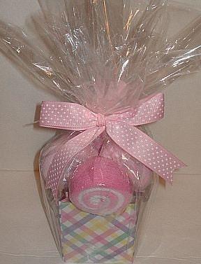 Set of 4 Lollipop Baby Washcloths w/ spoon bouquet
