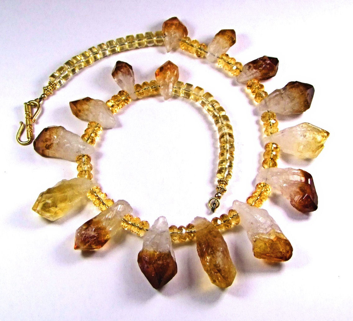 Natural Citrine points with faceted Citrine rondelle necklace - N101 - TheSilverBear