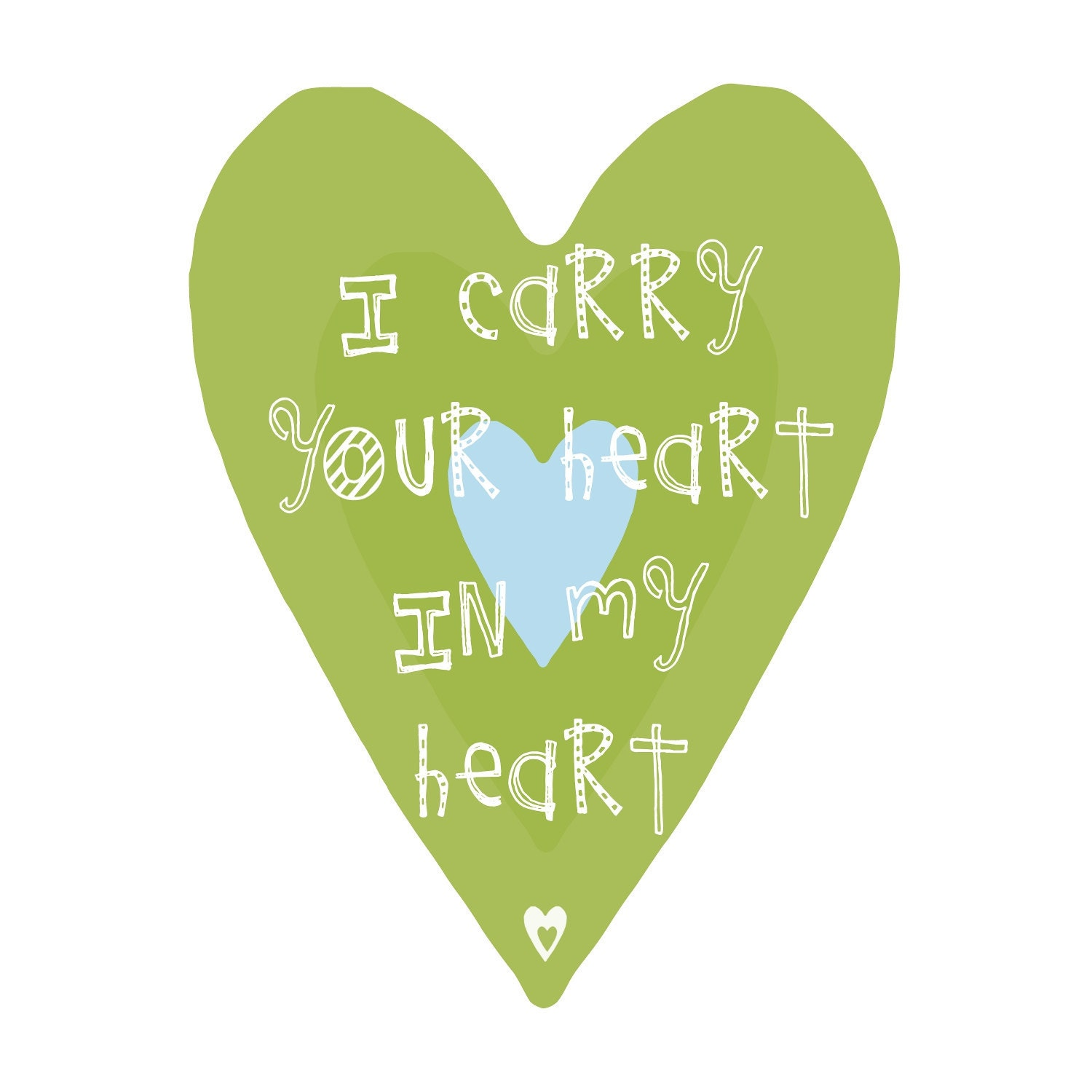 Lime green and Blue Heart Custom Colors - I carry your heart in my heart- Art Print 16x20 in - YassisPlace