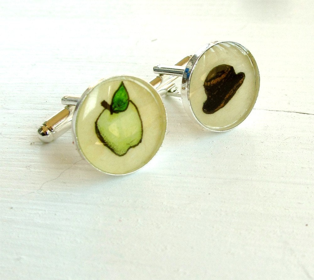 Hand Painted Cuff Links, Original Watercolor Painting, Son of Man, 17mm