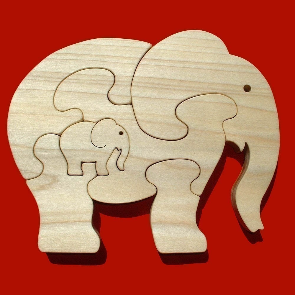 Elephant With Calf - Childrens Wood Puzzle Game - New Toy - Hand-Made - Child-Safe