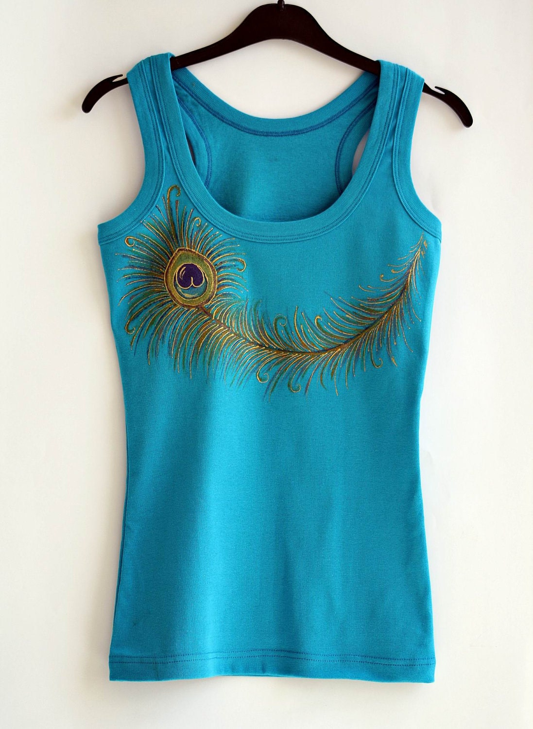 Peacock  Feather  Hand Painted Cotton Turquoise Top - MishMashStore