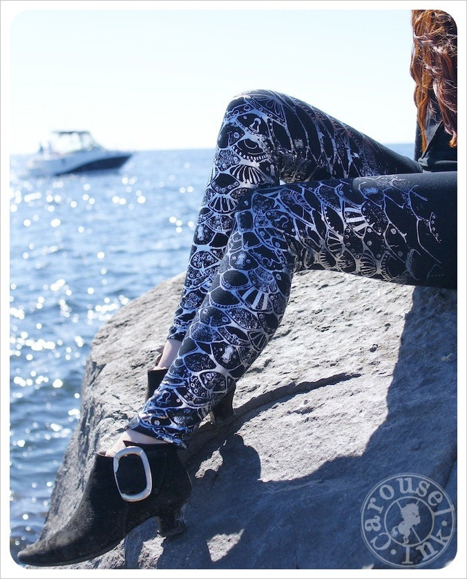 SILVER Mermaid Leggings - Metallic Womens Legging - Silver BLACK Legwear Steampunk Tights -  SMALL