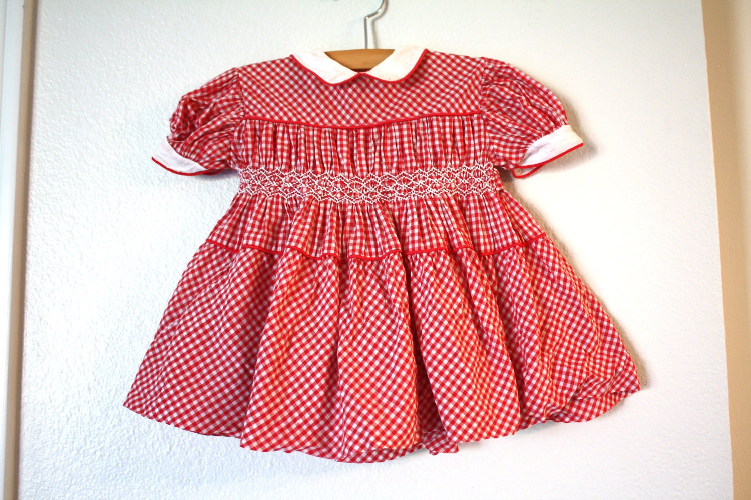 Red Gingham Baby Dress, 1950's Baby Dress, Size 2T - 1SweetDreamVintage