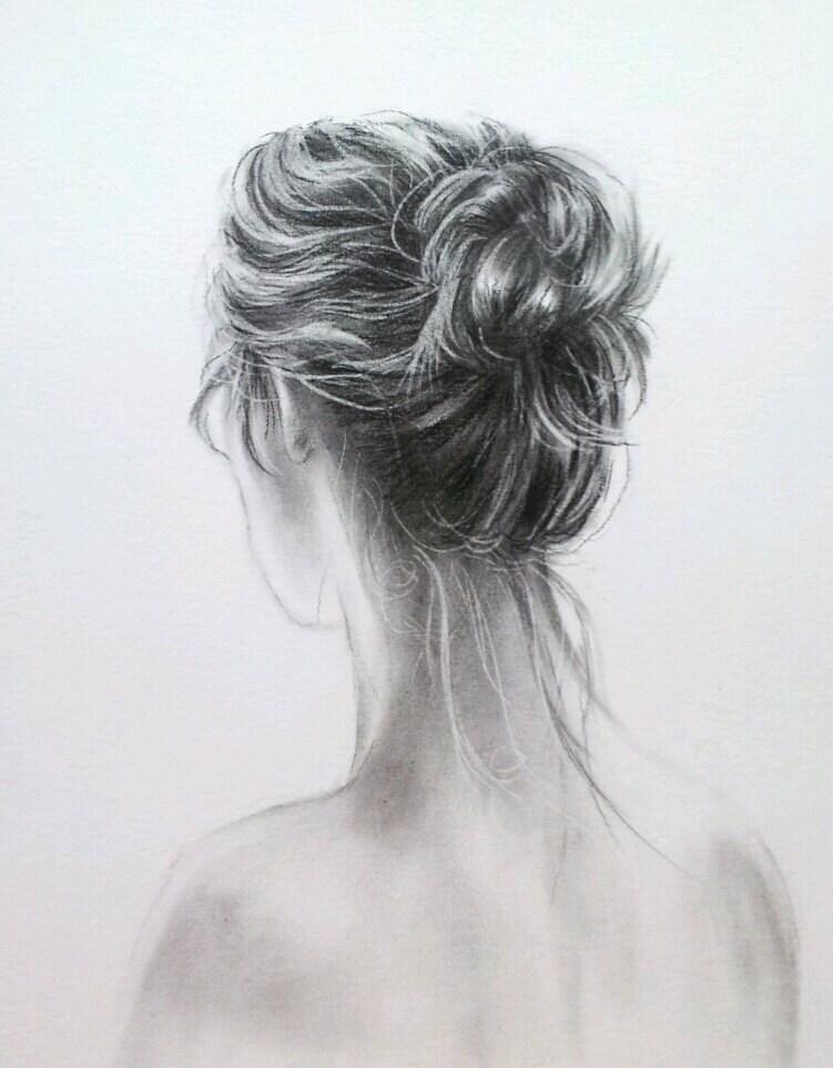 "Original charcoal drawing of ""Marjorie"" - 8X10 - Villekula"